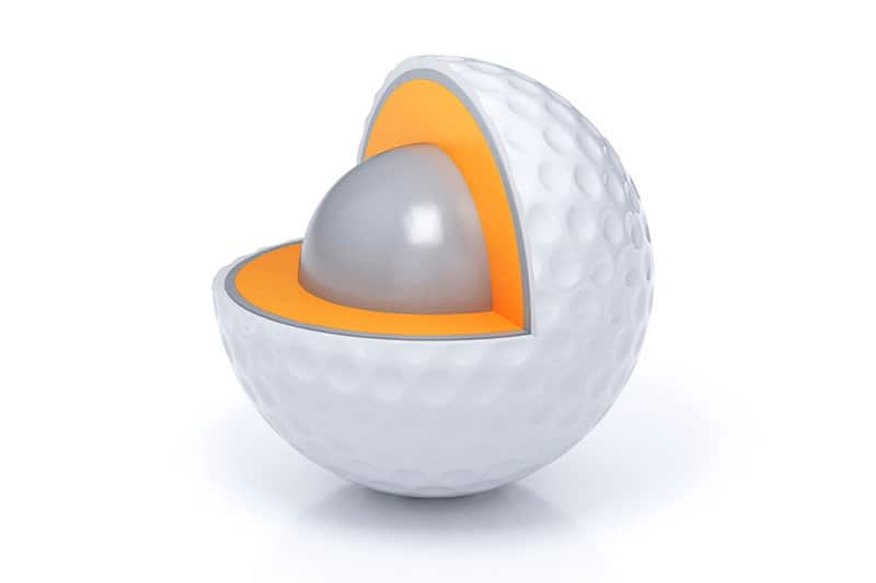 schematic view of sliced golf ball layers